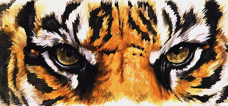 Eye-catching Sumatran Tiger Mixed Media By Barbara Keith