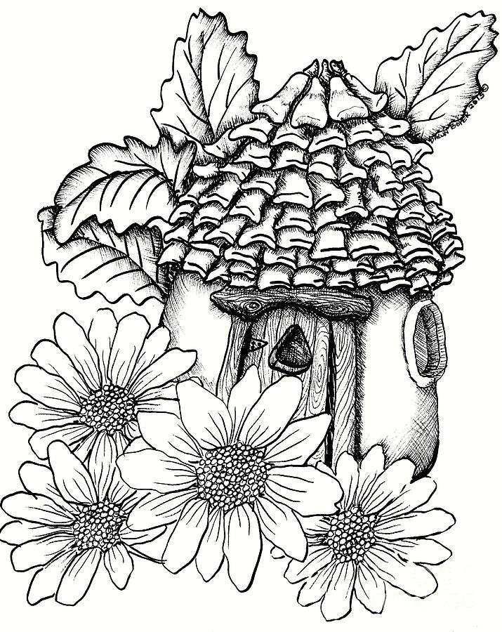 fairy house  pine cone roof and daisies drawing