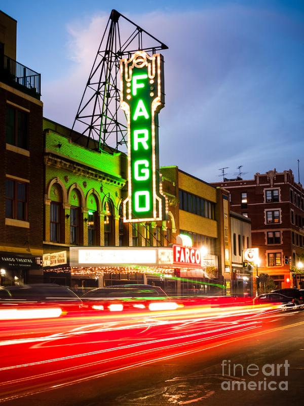 Fargo Theatre And Downtown Buidlings At Night Photograph ...