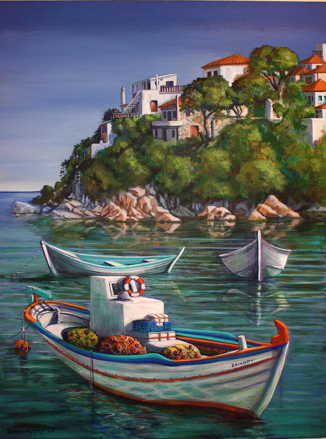 Fishing Boats In Skiathos Old Port Painting By Yvonne Ayoub