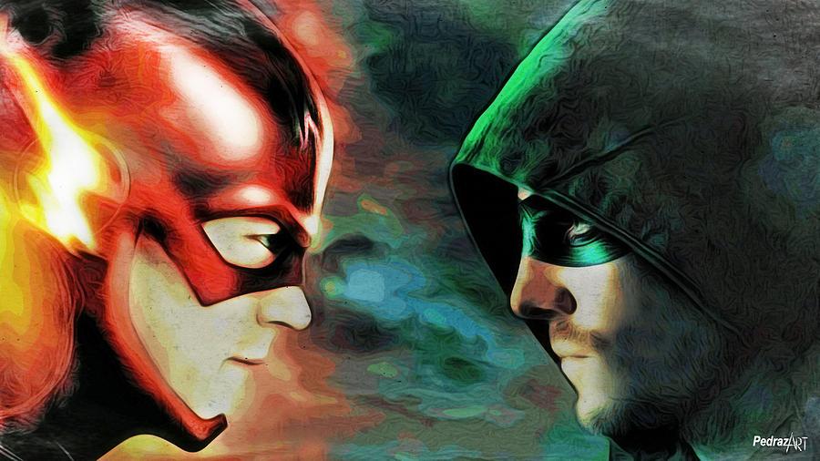Flash Vs Arrow Painting By PedrazArt Digital Designs