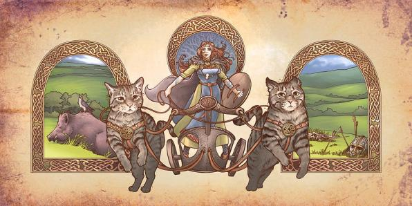 Freya Driving Her Cat Chariot - Triptic Garbed version Digital Art by Dani  Kaulakis