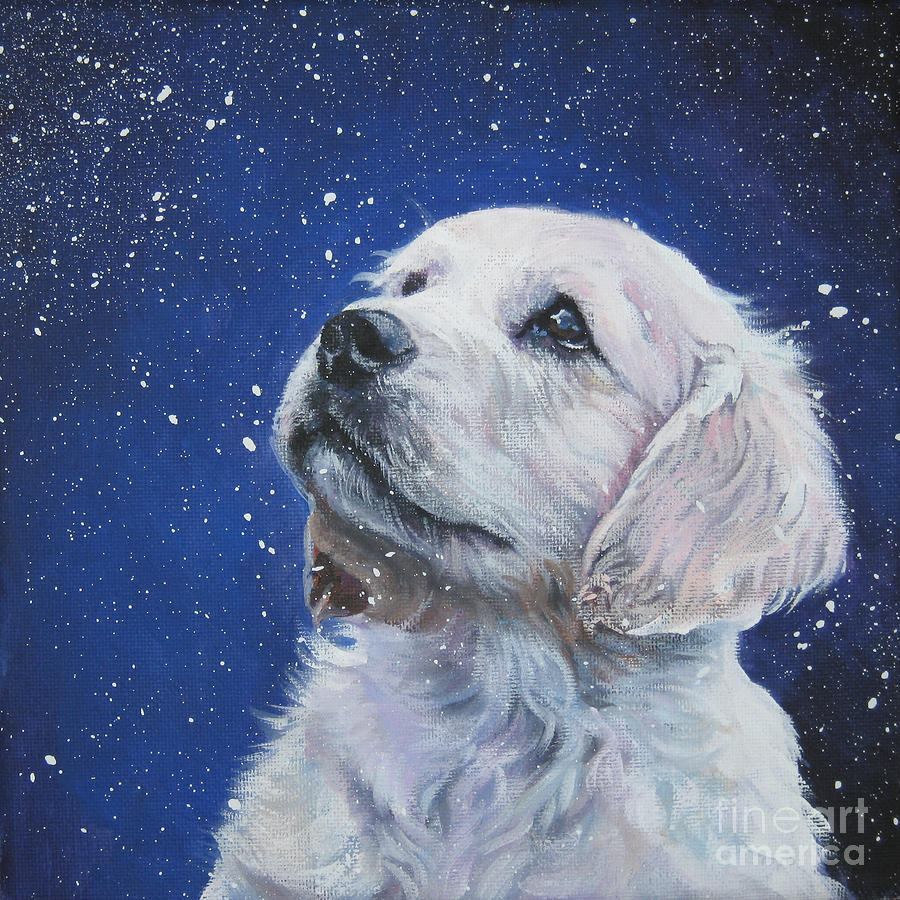 Golden Retriever Pup In Snow Painting By Lee Ann Shepard