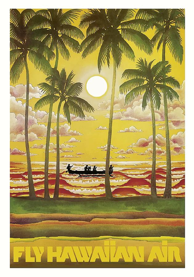 hawaii vintage airline travel poster by retro graphics