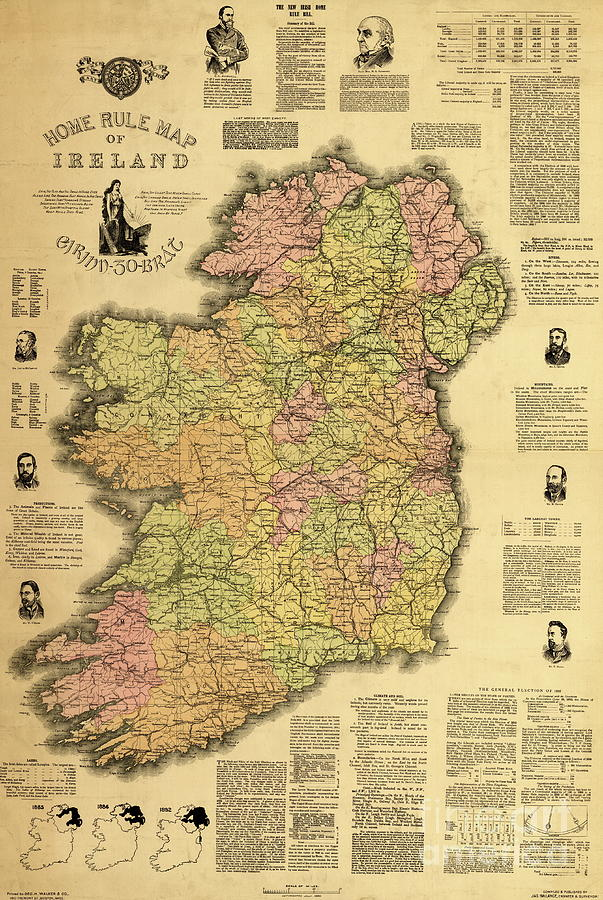 Home Rule Map Of Ireland  1893 Drawing by Irish School Ireland Drawing   Home Rule Map Of Ireland  1893 by Irish School