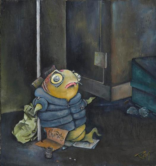 Fish Painting Homeless By Stephen Ray