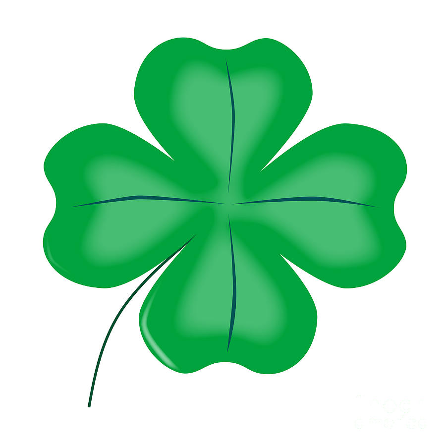 Lucky Four Leaf Shamrock Digital Art By Bigalbaloo Stock