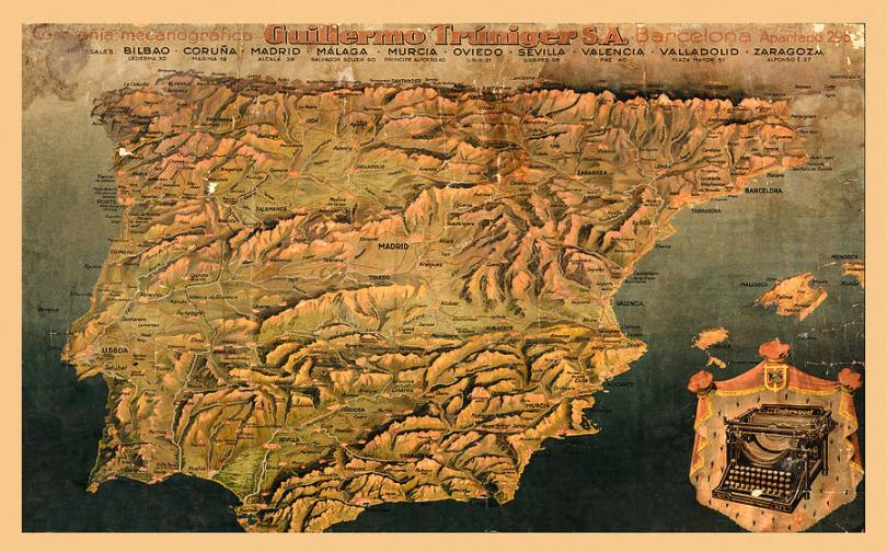 Map Of Spain 1930 by Andrew Fare Map Of Spain Photograph   Map Of Spain 1930 by Andrew Fare