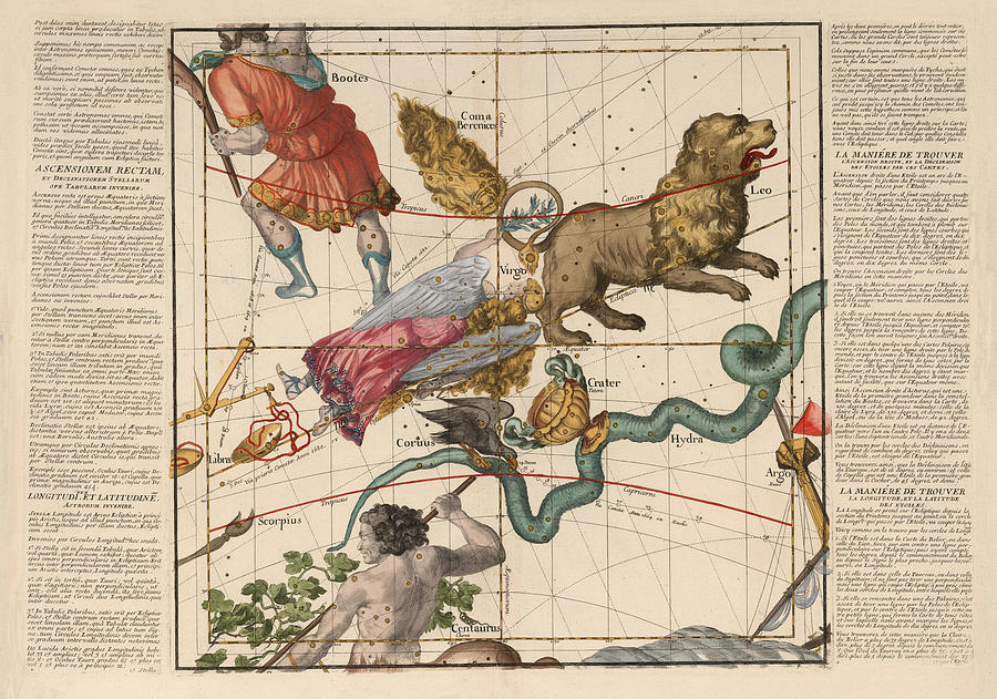 Map of the Constellations Virgo, Hydra, Leo - Celestial Map - Antique map  of the sky Drawing by Studio Grafiikka