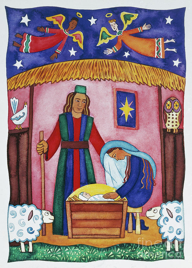 Nativity With Angels Painting By Cathy Baxter