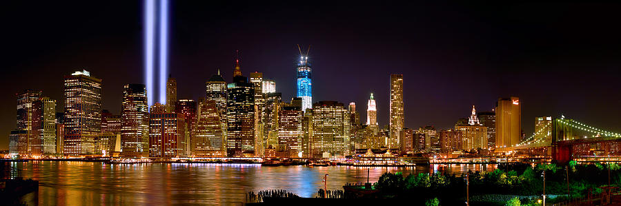 New York City Tribute In Lights And Lower Manhattan At