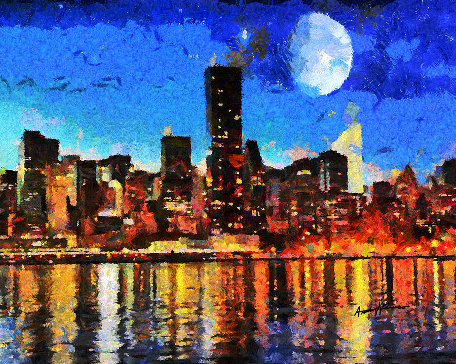 Nyc Skyline At Night Painting by Anthony Caruso Cityscape Painting   Nyc Skyline At Night by Anthony Caruso