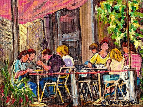 Outdoor Cafe Paintings Paris Style Sidewalk Terrace Rue St ...