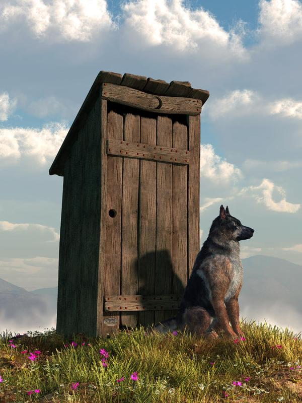 Outhouse Guardian - German Shepherd Version Digital Art by ...