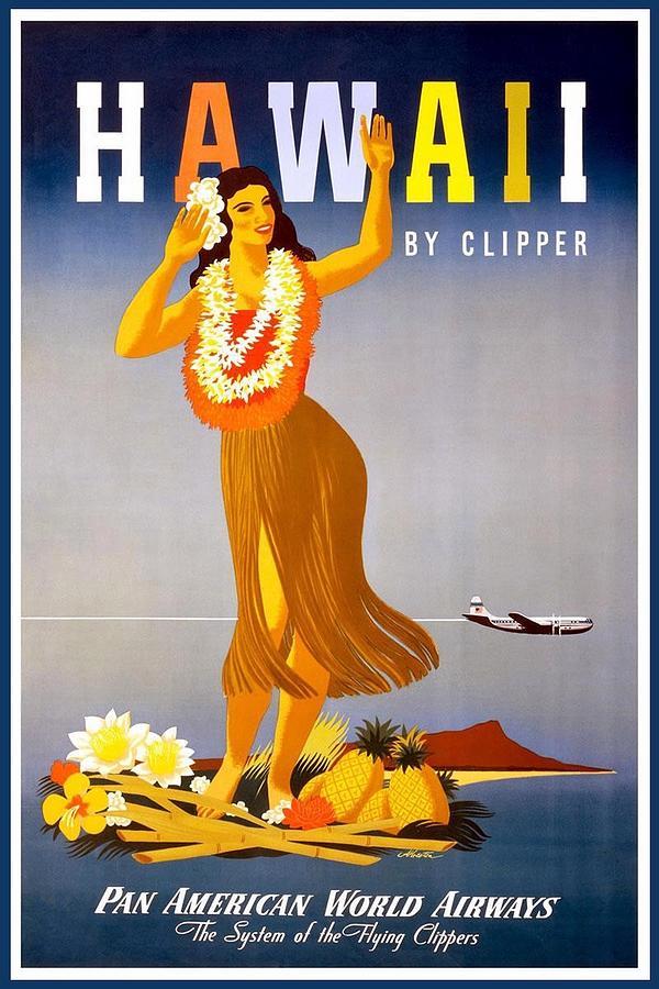 pan american world airways hawaii retro travel poster vintage poster by studio grafiikka