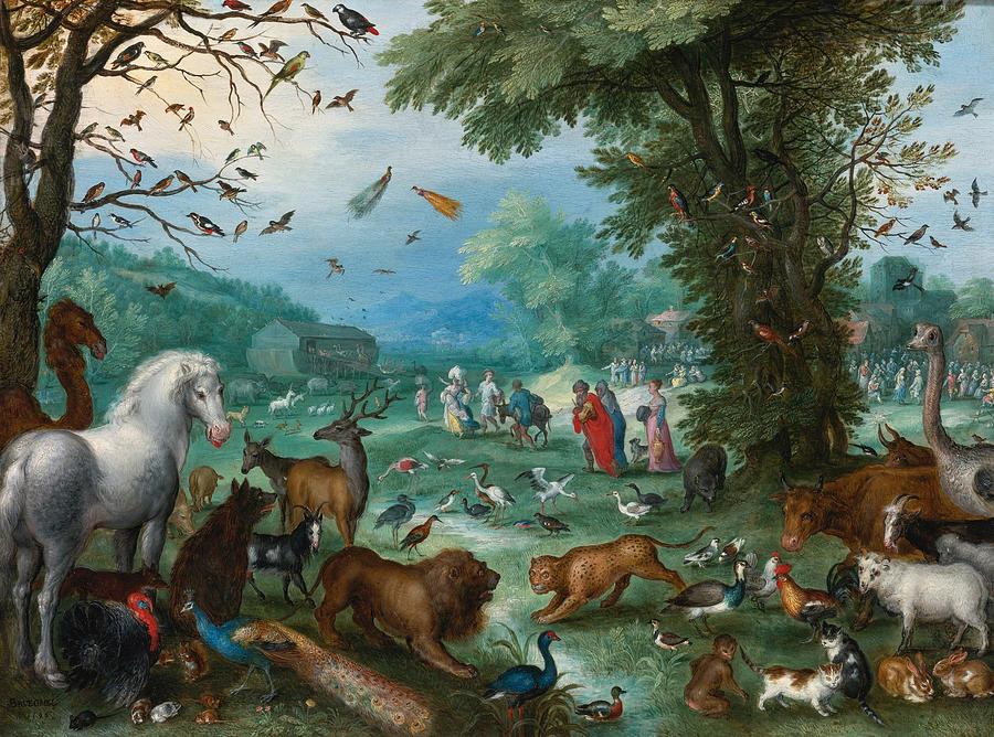 Paradise Landscape With The Animals Entering Noahs Ark