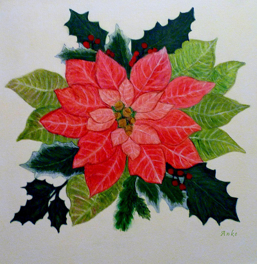 Poinsettia And Holly Painting By Anke Wheeler