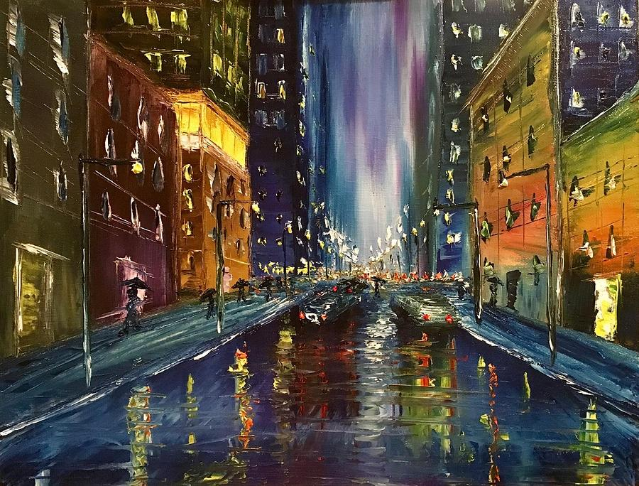 Rainy Streets Of Nyc Painting by Paul Anderson Oil Painting   Rainy Streets Of Nyc by Paul Anderson