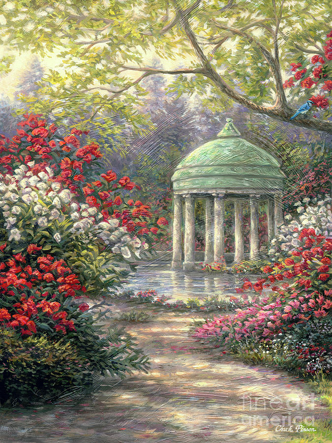 Rose Garden Gazebo Painting By Chuck Pinson