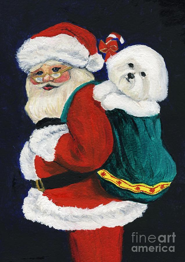 Santa Claus With Bichon Frise Painting By Charlotte Yealey