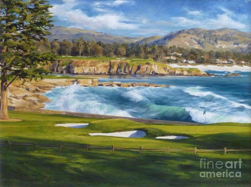 September On The 18th  The 18th Hole At Pebble Beach Golf Links     Golfer Painting   September On The 18th  The 18th Hole At Pebble Beach Golf  Links