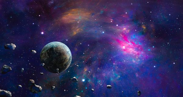 Space Scene Colorful Nebula With Planet And Asteroids