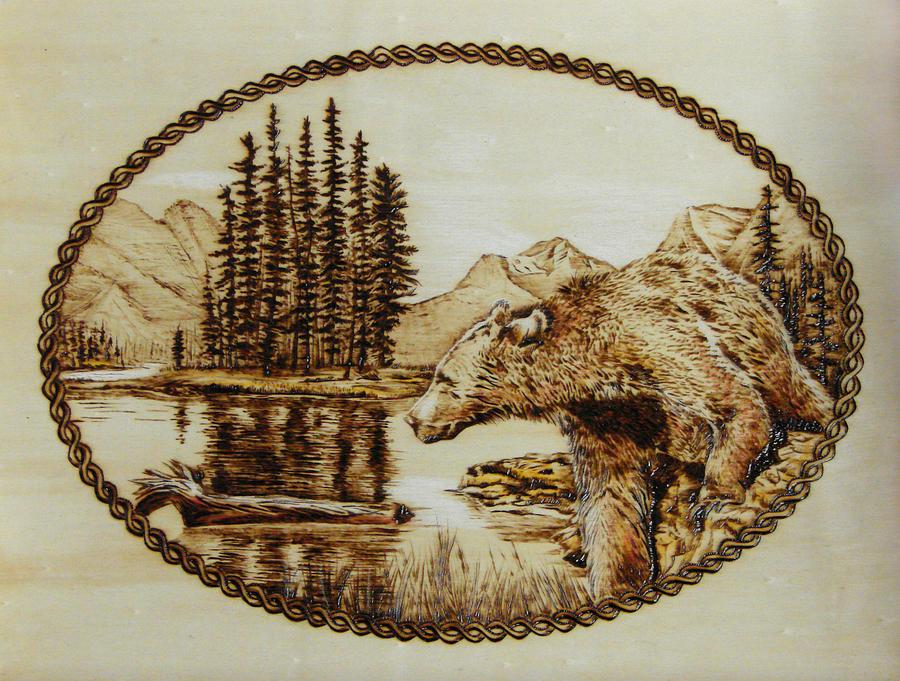 Spirit Bear Pyrography By Chris Wulff