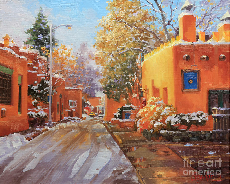 The Winter Beauty Of Santa Fe Painting By Gary Kim