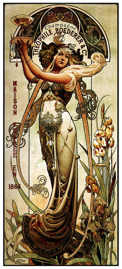 theophile roederer champagne vintage art nouveau advertising poster by studio grafiikka