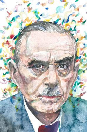 THOMAS MANN - watercolor portrait.3 Painting by Fabrizio Cassetta