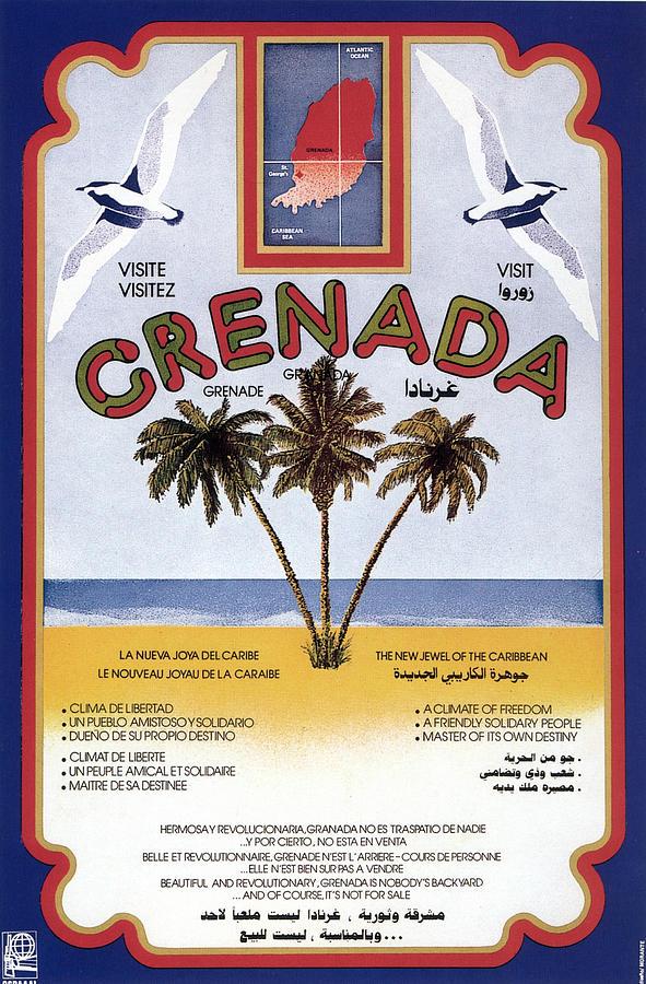 three palm trees on the sea shore in grenada vintage travel poster by studio grafiikka