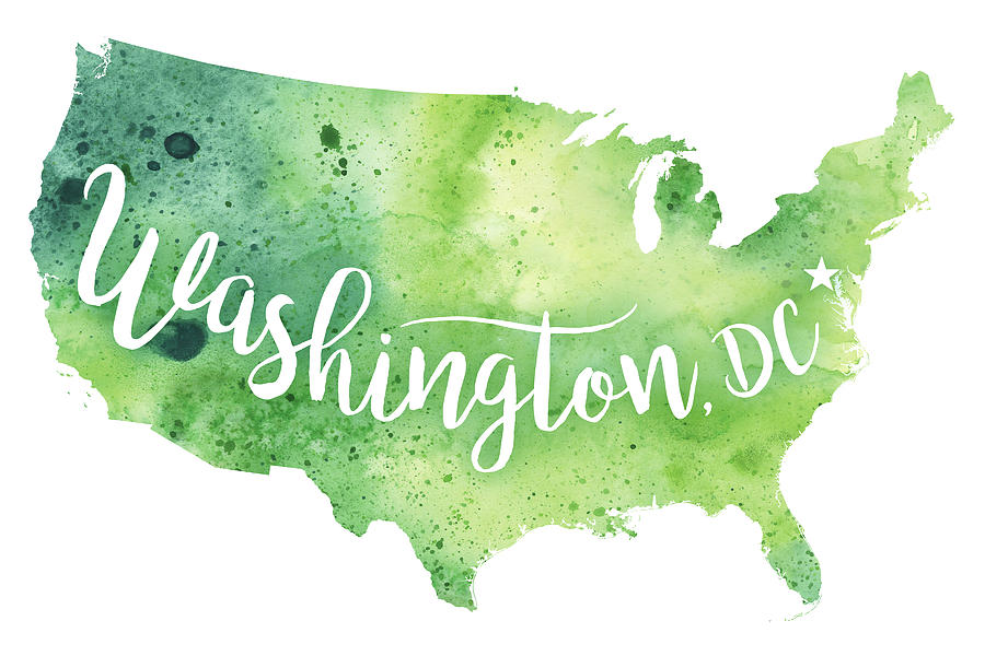Us map also shows that it shares its international boundaries with canada in the north and mexico in the south. United States Of America Watercolor Map Washington D C Hand Lettering Painting By Andrea Hill