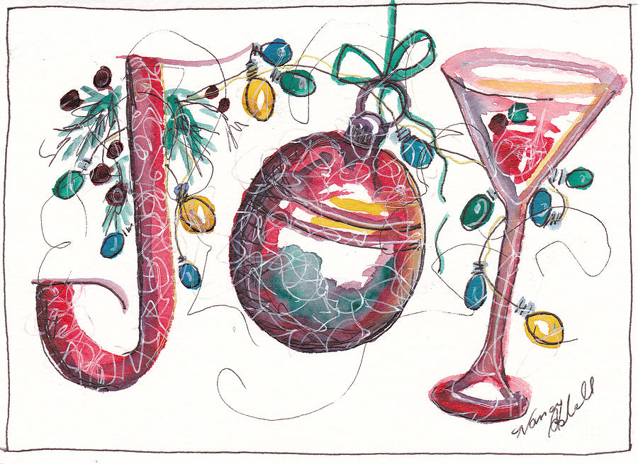 Watercolor Christmas Notecard Painting By Michele