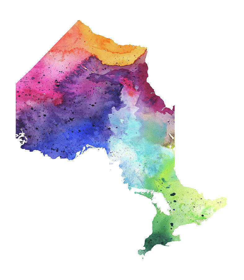 Watercolor Map Of Ontario  Canada In Rainbow Colors Painting by     Canada Painting   Watercolor Map Of Ontario  Canada In Rainbow Colors by  Andrea Hill