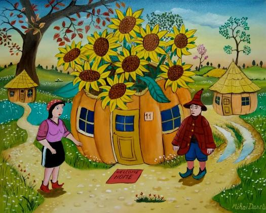 Sun Flower Painting Welcome Home By Mihai Dascalu