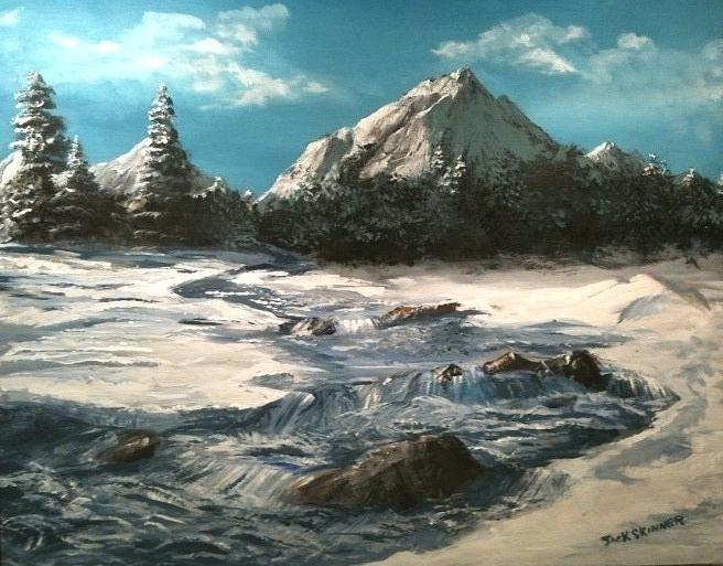 Winter Mountain Stream Painting By Jack Skinner