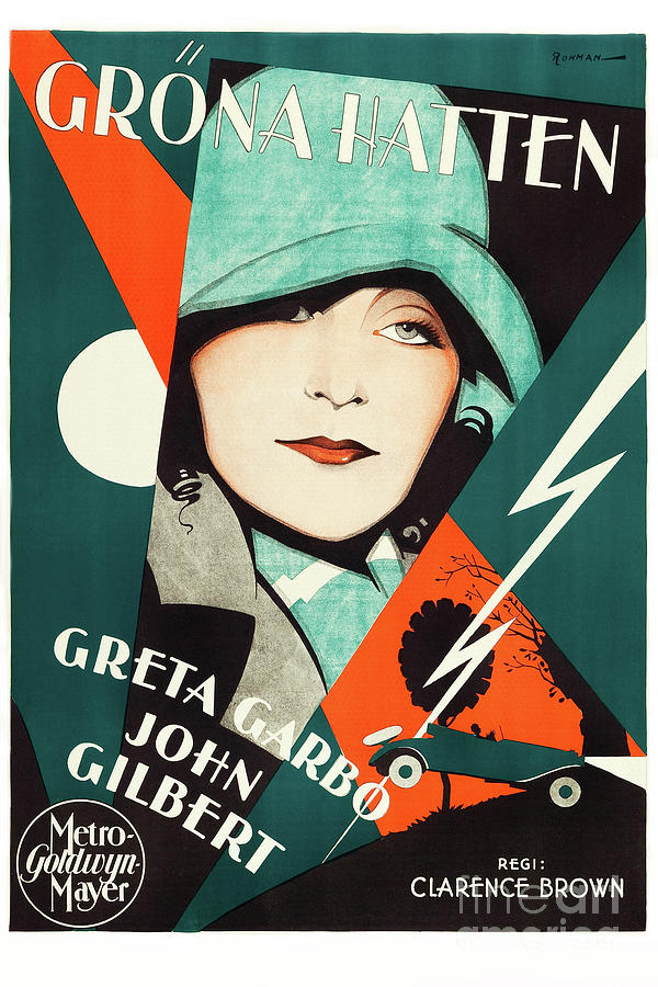 20x30 swedish movie poster greta garbo john gilbert grona hatten a women of affairs 1928 by images from history store