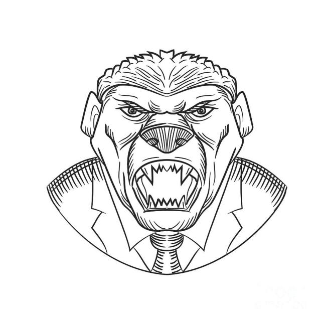 Angry Honey Badger Wearing Coat and Tie Drawing by Aloysius Patrimonio
