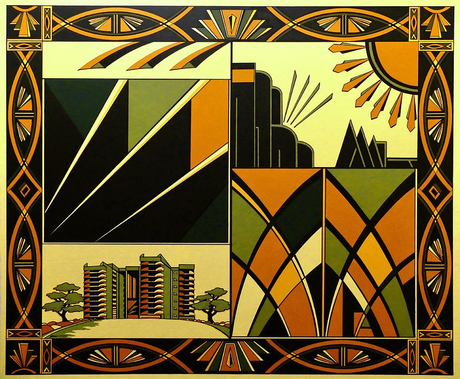 Art Deco Hinton Wood Painting By Emma Childs