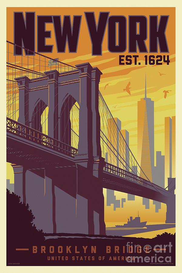 brooklyn bridge poster new york vintage by jim zahniser