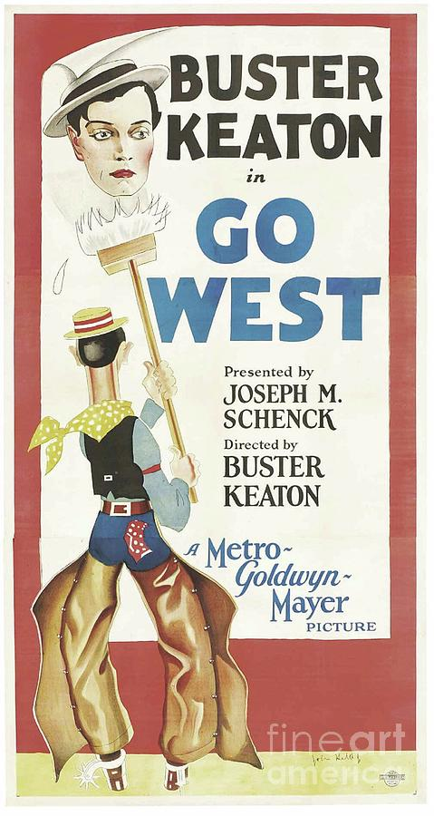 classic movie poster buster keaton in go west by esoterica art agency