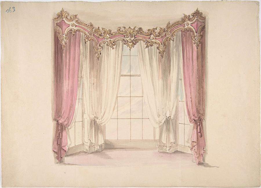 design for pink curtains and white inner curtains with a gold white and pink pediment anonymous b by motionage designs