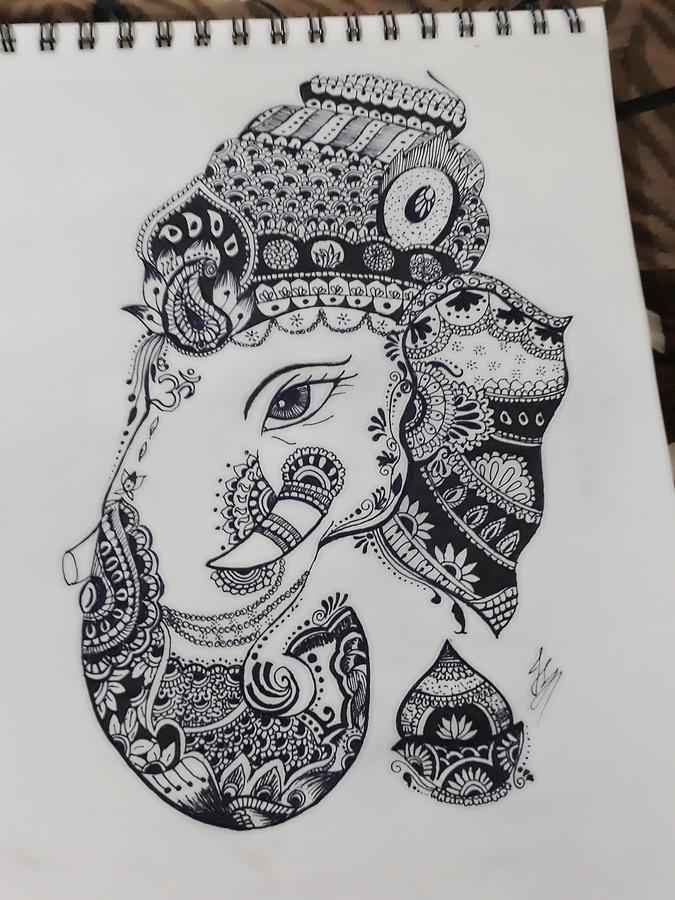 Ganesha Ji Drawing By J Singh