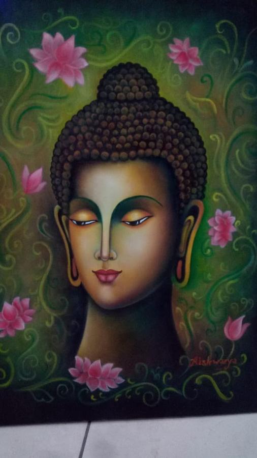 Gautam Buddha Painting By Aishwarya Singh