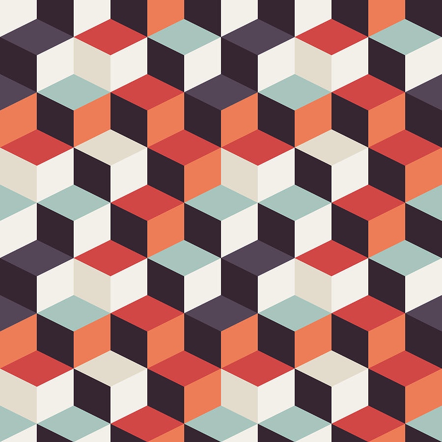 Geometric Seamless Pattern With Colorful Squares In Retro Design Digital Art By Jelena Obradovic