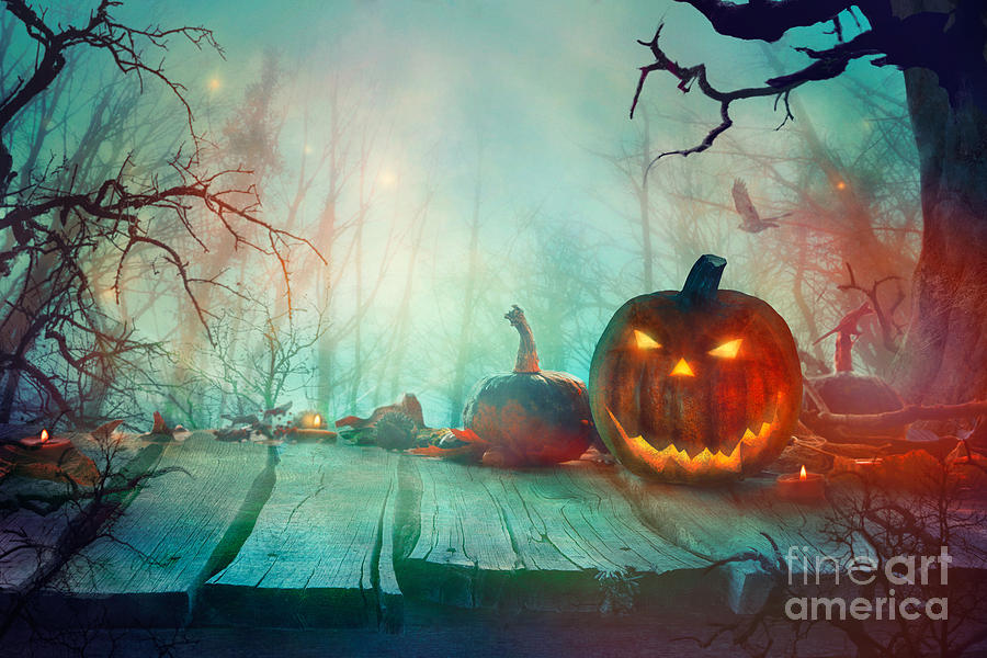 Wallpaper, backdrop, card, flat lay, place for text, copy space, close. Halloween With Pumpkin And Dark Forest Scary Halloween Design Photograph By Mythja Photography