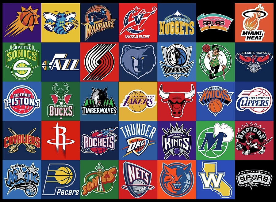 national basketball association background logo teams by movie poster prints