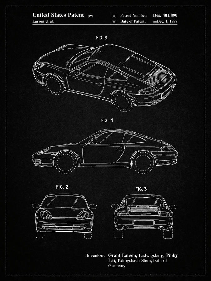 pp700 vintage black 199 porsche 911 patent poster by cole borders