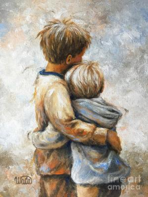 Two Brothers Hugging Painting by Vickie Wade