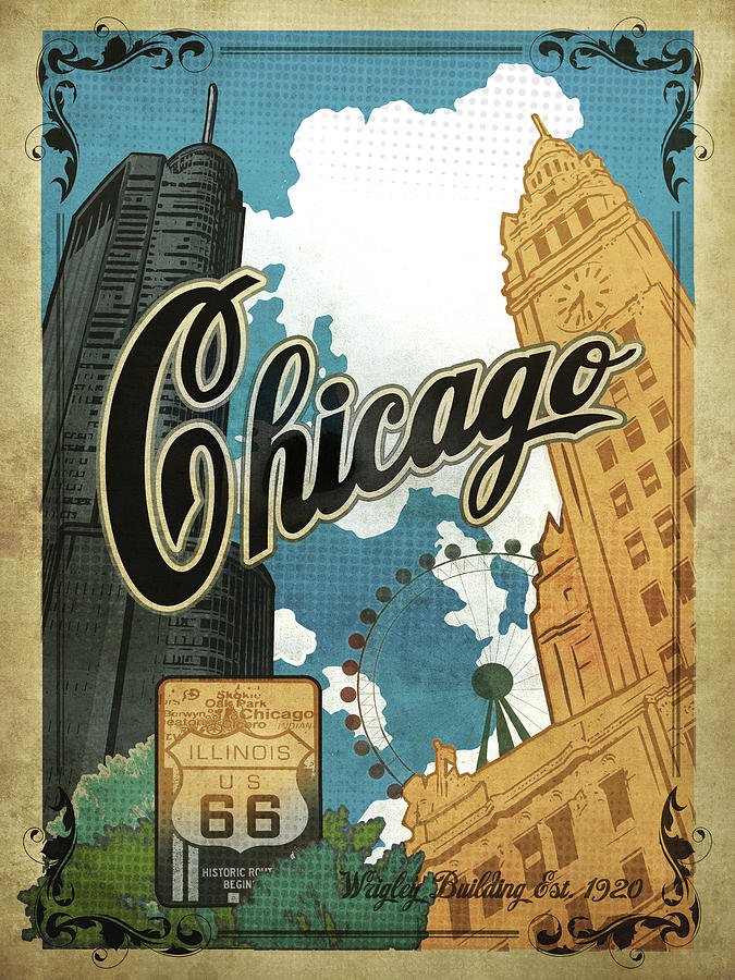 vintage chicago poster by old red truck
